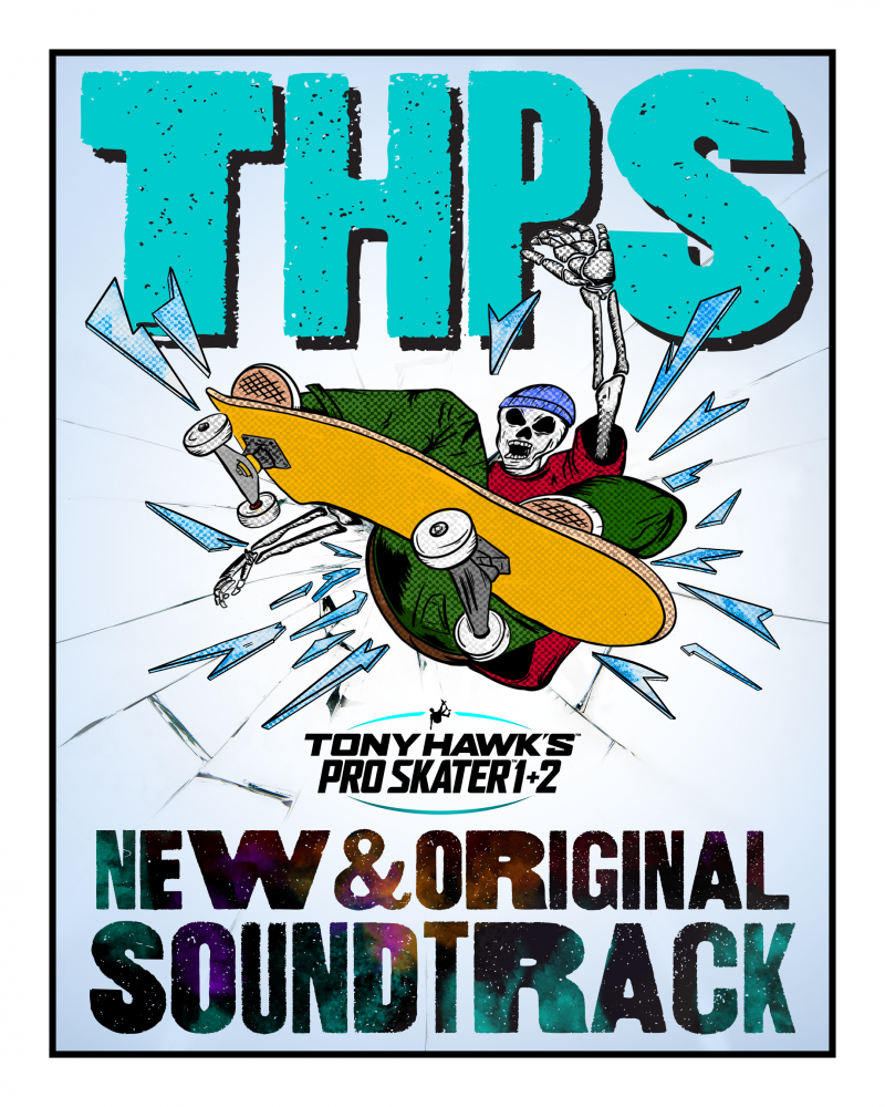 Key art for the upcoming Tony Hawk's ProSkater 1 + 2 Soundtrack